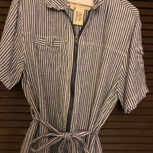 Anthropologie Cartonnier linen striped jumpsuit.